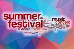Summer festival word cloud with abstract background Stock Illustration