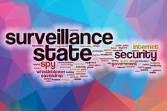 Surveillance state word cloud with abstract background - stock illustration