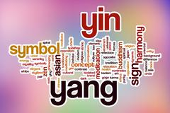 Yin yang word cloud with abstract background - stock illustration