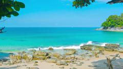 Bright Blue, Tropical Beach Paradise in Thailand Stock Footage