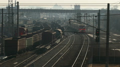 Railway junction with drive up entrance (top view) Stock Footage