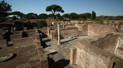 Viewpoint over Ostia Antica, Italy Stock Footage