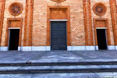 italy  lombardy    in  the vergiate  old   church  closed brick   wall - stock photo