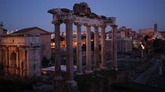 Roman Forum at night, Rome, Italy Stock Footage
