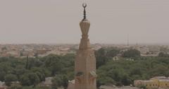 Medium Shot of Minaret of Saudi Mosque in Nouakchott, Mauritania (4K) Stock Footage