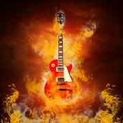 Rock guita in flames of fire Stock Photos