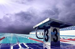 Stock Photo of Open sport waterpool with sky
