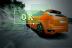 Car in the fire. Outdoors - stock photo