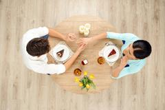 Top view of table and marriage proposal - stock photo