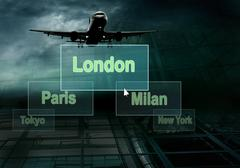 Stock Photo of Airports citys on the button and plane