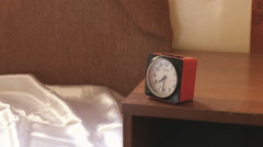 Woman Hits Her Alarm Clock Stock Footage