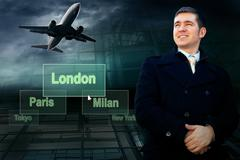 Stock Photo of Businessman and airports citys on the button and plane