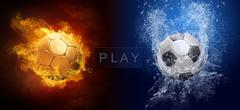 Water drops and fire flames around soccer ball on the background Stock Photos