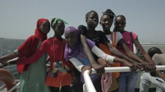 Senegalese Girls travelling on a Ferry Stock Footage
