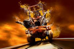 Demon on traine in fire flames oo the speed - stock photo