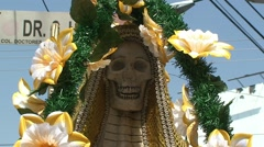 Santa Muerte Figure at Street Shrine, Mexico Stock Footage