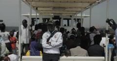 Ferry transporting passengers to Goree Island, Dakar, Senegal (4K) Stock Footage