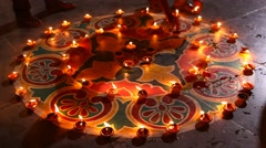 Oil Lamps in the Temple Stock Footage