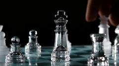 Fight chess pieces on chessboard Stock Footage