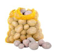 Potatoes in a bag over a white background Stock Photos