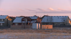 Drive by fracking site in rural neighborhood Stock Footage