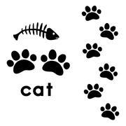 cat's paw prints - stock illustration