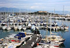 Port of Antibes with very expensive boats, Cote d'Azur, France. Stock Photos