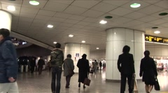 Shinjuku underground steadycam fast Stock Footage