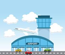 airport terminal - stock illustration