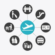 Airport terminal Stock Illustration