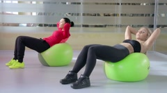 Abdominal exercise on the ball Stock Footage