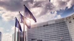 European Union flags Stock Footage