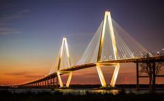 Arthur Ravenel Jr Bridge Illuminated in Evening Stock Photos