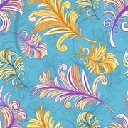 Pattern with colored abstract feathers Stock Illustration