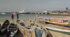 Canoes at the beach in Goree, Dakar, Senegal (4K) Stock Footage