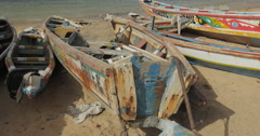 Senegalese traditional Canoes in Goree, Senegal (4K) Stock Footage
