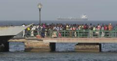 Passengers boarding into the ferry, Goree, Senegal (4K) Stock Footage