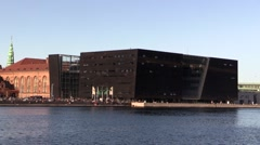 The Black Diamond in Copenhagen Stock Footage