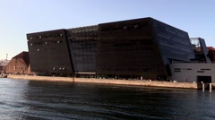 The Black Diamond at the waterfront in Copenhagen Stock Footage