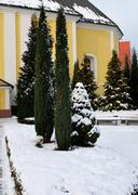 Nemsova - church in wnter Stock Photos