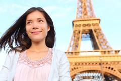 Eiffel tower Paris tourist woman Stock Photos