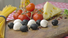 Italian ingredients for pasta on rotating table 24 fps Stock Footage