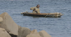 A man fishing in the ocean, Goree, Senegal (4) Stock Footage