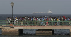 Passengers waiting for the ferry, Goree Island, Senegal (4K) Stock Footage