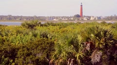 Florida NewSmyrna Beach Dunes PonteInletLighthouse 01svv Stock Footage