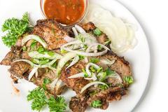 Closeup of shish kebab - stock photo