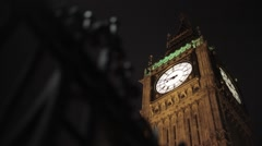 Big Ben/Elizabeth Tower London at Night | HD 10080 Stock Footage