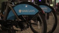 Barclays Bikes, London. Night | HD 1080 Stock Footage