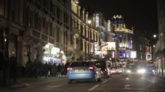 Night Traffic on Shaftesbury Avenue London | HD 1080 Stock Footage