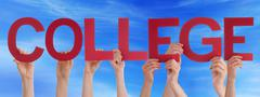 Many People Hands Holding Red Straight Word College Blue Sky Stock Photos